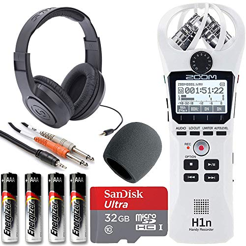 Zoom H1n Handy Recorder + On Stage Windscreen + SanDisk Ultra 32GB Card + Cable + Samson Headphones + Energizer AAA Batteries (White)