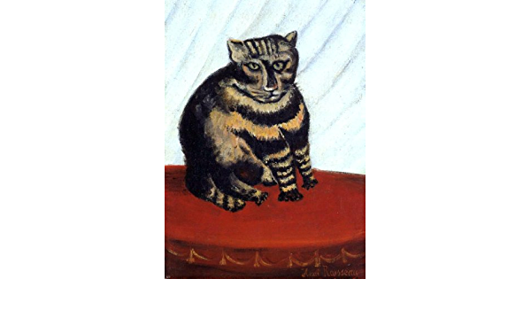 Lovely Henri Rousseau Tiger Cat in a Storm Surprised 4 x 4.25 or 108mm ceramic tile mural mosaic wall art splash back