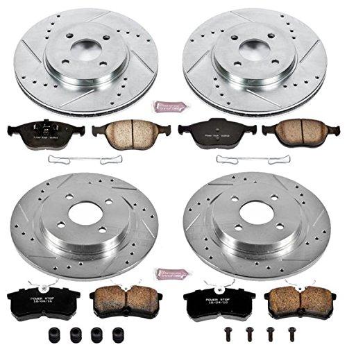 (Power Stop K4467 Front & Rear Brake Kit with Drilled/Slotted Brake Rotors and Z23 Evolution Ceramic Brake Pads)