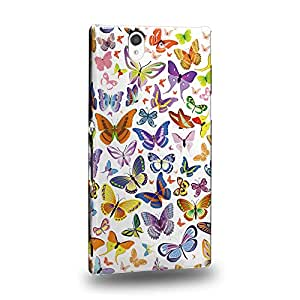 Case88 Premium Designs Art White Butterfly Patterns Carcasa/Funda dura para el Sony Xperia Z