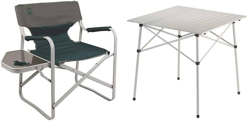 Coleman Outpost Breeze Portable Folding Deck Chair with Side Table