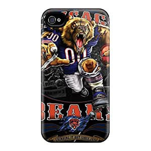 Shock Absorption Cell-phone Hard Covers For Iphone 4/4s (UKk7722fJdB) Customized Lifelike Chicago Bears Pattern