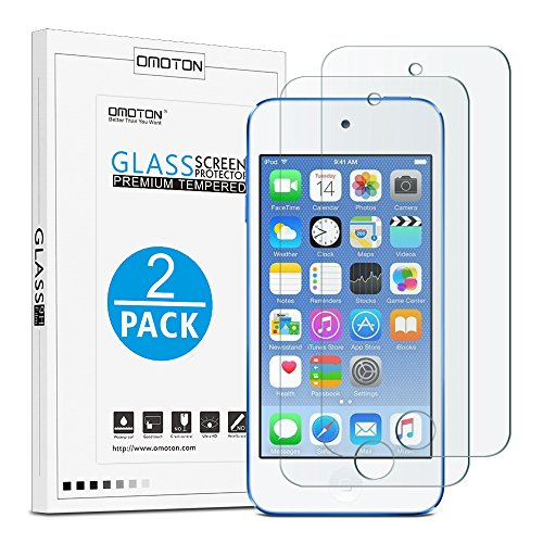 OMOTON Tempered Glass Screen Protector for New iPod Touch (7th / 6th / 5th Gen, 2015 / 2019 Released), 2 Pack (Silver Ipod Touch 4th Generation)