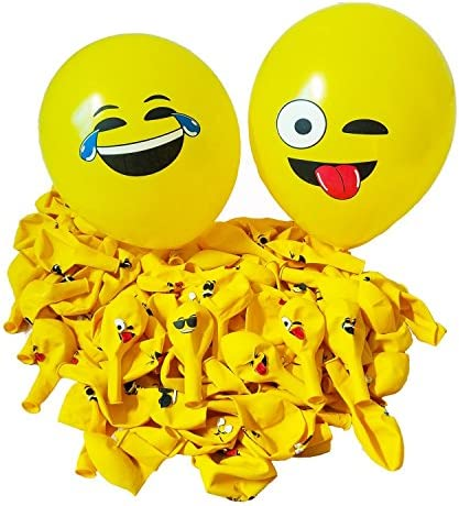 CCINEE 可愛い 黄色笑顔風船 バルーン 12Emoji絵文字ラテックス製の12インチ風船 100個セット