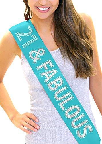 21 & Fabulous Silver Foil & Rhinestone 21st Birthday Girl Sash (Turquoise Sash)