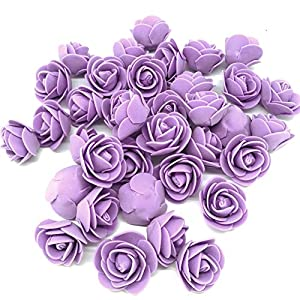 Jing-Rise Artificial Flowers 100PCS 3CM Mini Fake Roses for DIY Wedding Bouquets Centerpieces Party Baby Shower Home Decorations(Lavender) 99