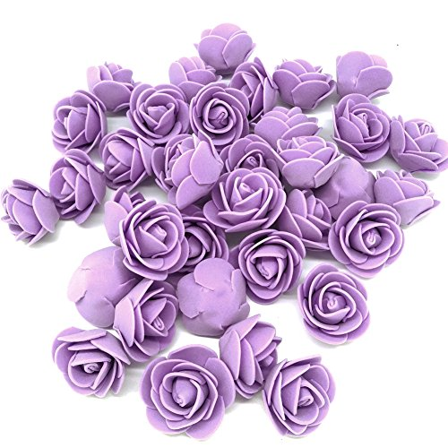 Jing-Rise Artificial Flowers 100PCS 3CM Mini Fake Roses for DIY Wedding Bouquets Centerpieces Party Baby Shower Home Decorations(Lavender)