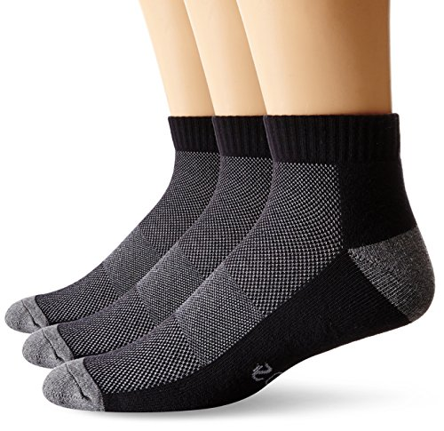 ECCO Men's 3-Pack Ankle With Mesh Top Sock,Black,10 to 13 from ECCO