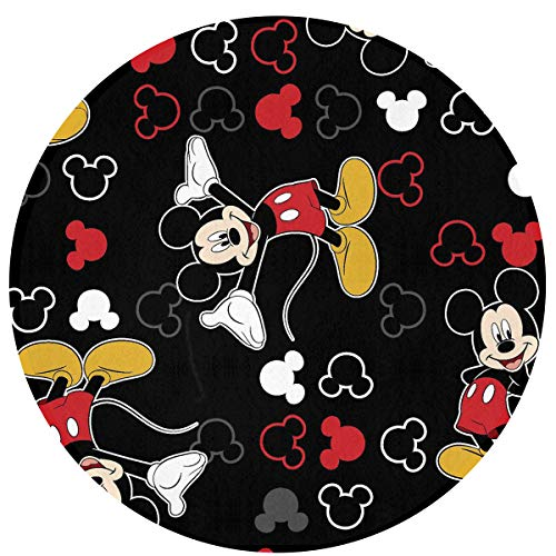 Round Mickey Mouse - WSXEDC Round Area Rug Mickey Mouse Black Indoor/Outdoor Floor Mat 23.6 Inch Diameter Home Decor