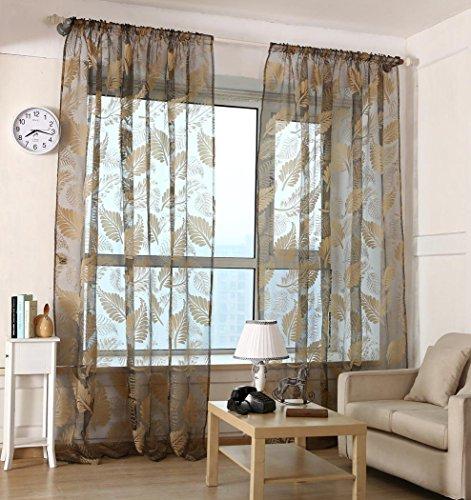 Creazy® 1 PC Leaf Tulle Door Window Curtain Drape Panel Sheer Scarf Valances (Black) from Creazy