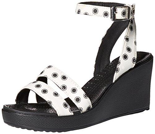 Crocs Womens Leigh Graphic Zeppa Nero / Bianco