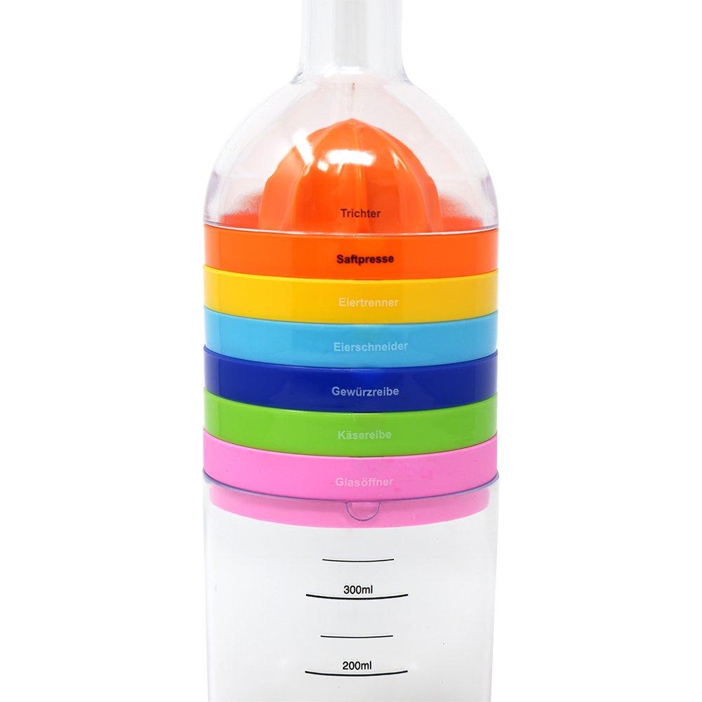 COM-FOUR/® K/üchenhelfer 8 in 1 in Flaschen-Form