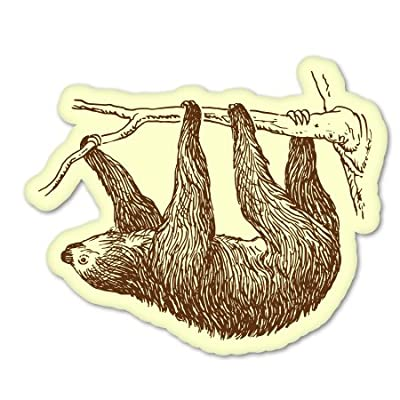 Ak Wall Art Sloth Hanging On Tree Vinyl Sticker - Car Phone Helmet - Select Size -