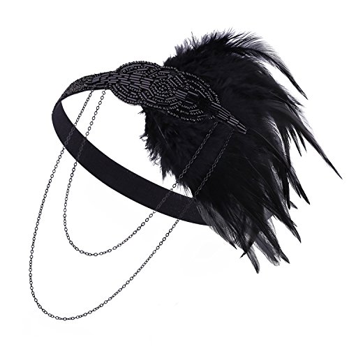 [Zivyes 1920s Black Gold Headpiece Hair Accessories Beaded Flapper Great Gatsby Headband (Black)] (The Great Gatsby Costumes To)