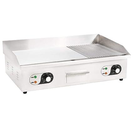 vidaXL Plancha Eléctrica de Cocina Acero Inoxidable 4400 W ...