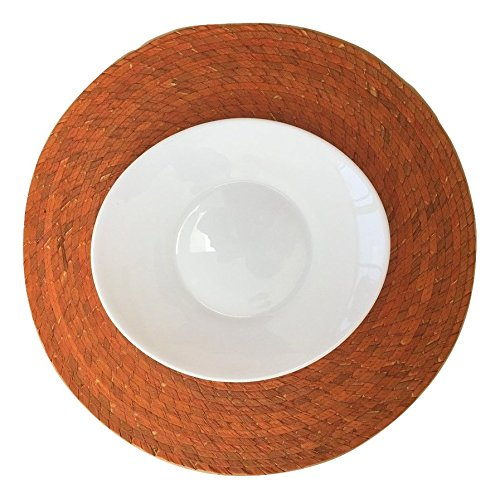 Braided and Reversible Casa Fiesta Designs Orange Round Placemats  Set of 4 Eco-Friendly Indoor or Outdoor use Handmade Great for Dining Table//Kitchen Mexican Style Easy to Clean Woven