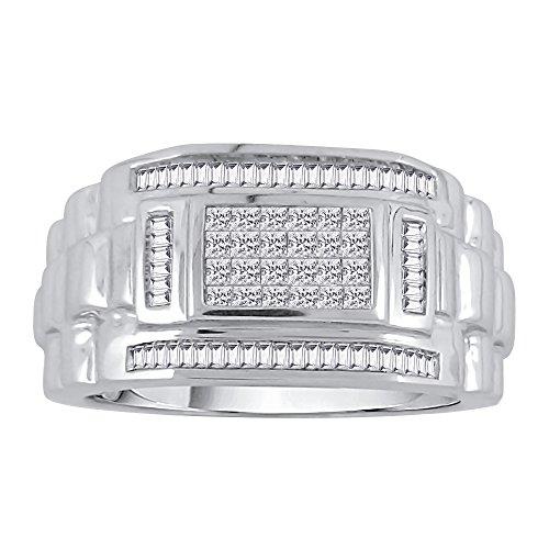 KATARINA Baguette and Princess Cut Diamond Men's Ring in 14K White Gold (3/4 cttw, G-H, VS2-SI1) (Size-8)