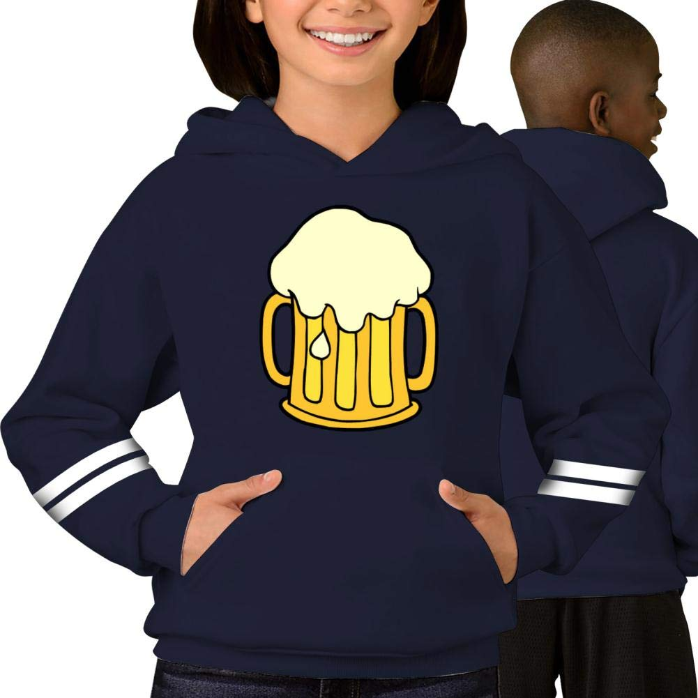 Fbotgh 3D Print Beer Striped Long Sleeve Pullover Hoodie Sweatshirt with Pockets for Boys for Girls
