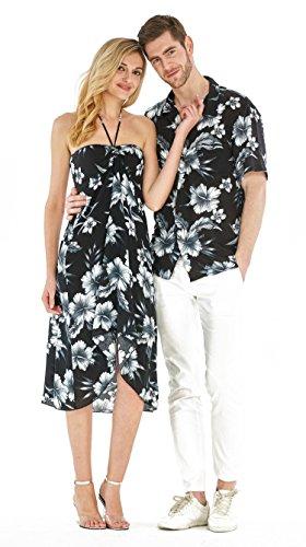 Hawaii Hangover Couple Matching Hawaiian Luau Party Outfit Set Shirt Dress In Midnight Bloom Men XL Women XL by Hawaii Hangover