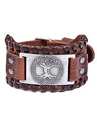 Fishhook Viking Tree of Life The World Tree Yggdrasil Talisman Bangle Leather Bracelet