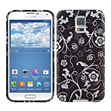 kwmobile TPU SILICONE CASE for Samsung Galaxy S5 / S5 Neo / S5 LTE+ / S5 Duos Design flowers wallpaper white black - Stylish designer case made of premium soft TPU