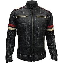 Men Vintage Biker Retro Motorcycle Cafe Racer Moto Distressed Leather Jacket