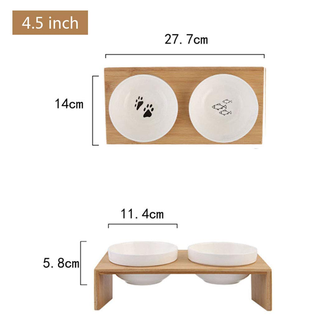 A NYDZDM Pet Dog Bowl Cat Bowl Bamboo Wooden Frame Ceramic Two Bowls with Pet Food Table with Angle Heightening Design (color   A)