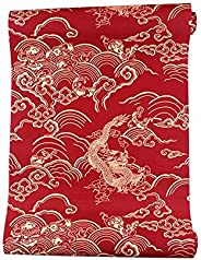 Easy to Clean, Versatile Wallpaper and Durable Traditional Chinese Red 3D Clouds Wallpaper Dragon Pattern Wall