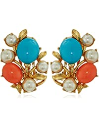 Santorini Turquoise Coral Stone Glass Pearls Gold Clip On Earrings