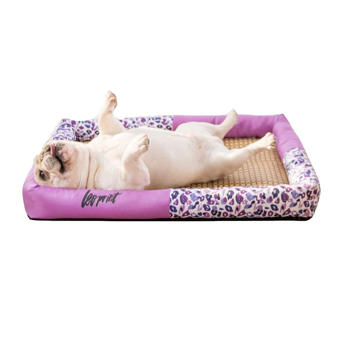 Purple S Purple S Kennel Summer Cool nest, Small Dog Kennel, Summer Cool mat Bed, Medium Dog, Dog pet cat Litter, Leopard Print, 4 colors Optional (color   Purple, Size   S)