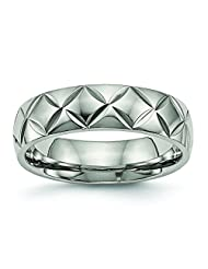 High Polish Finish Titanium Diamond Cut Textured Domed Wedding Band