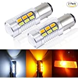 Yaoho White Amber Switchback Front Turn Signal Bulbs Light (Pack of 2) (1157-22SMD, White and Amber)
