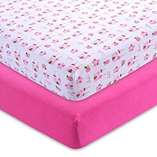 M&Y Stretchy Fitted Crib Sheets Girl, 100% Jersey Knit Cotton, 52x28x9in, Super Soft and Safe for Baby, Fits Standard Crib Mattresses, Breathable and Hypoallergenic