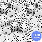 ShellKingdom 100 Pieces Bulk 16mm 6-Sided Round Corner Game Dice for Board Games