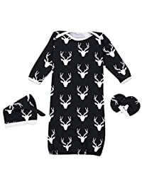 SUPEYA Baby Boys Girls Reindeer Print Sleeper Gown Sleepsack Hat 3Pcs Set Outfits