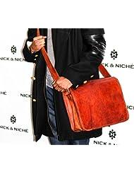 NICK & NICHÉ Vintage Handmade Genuine Leather Travel Laptop Messenger Bag with Size 15L 11H