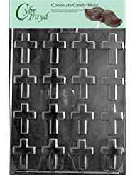 Cybrtrayd R004 Bite Size Crosses Chocolate Candy Mold with Exclusive Cybrtrayd Copyrighted Chocolate Molding Instructions plus Optional Candy Packaging Bundles