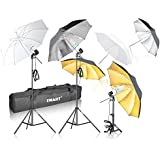 Emart Photography Umbrella Lighting Kit, 1575W 5500K Photo Video Studio Continuous Reflector Lights for Camera Portrait Shooting Daylight (Translucent/ White, Black & Silver, Black & Gold)