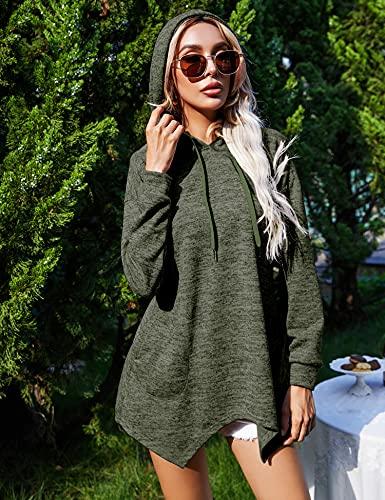 IECCP Women's Tunic Hoodies Long Sleeve Asymmetric Hem Top with Pockets High Low Sweatshirt Irregular Pullover Blouse Army Green