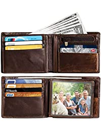Men's RFID Blocking Minimalist Bifold Genuine Leather Wallet with back card slot, ID window,16 card slots
