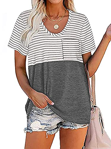 XCHQRTI Women's Striped T Shirts Short Sleeve Cute Color Block Loose Casual Tees Tops Summer (M