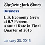 U.S. Economy Grew at 0.7 Percent Annual Rate in Final Quarter of 2015   Nelson D. Schwartz