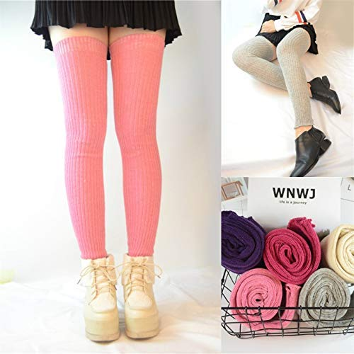 Pink Winter Women Girls Autumn and Winter Thick Warm Socks, Japanese Piles of Socks, Long Knees, Long Legs, high Socks, Knee Pads (color   Pink) Leg Warmers