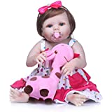 """iCradle 23"""" 57cm Full Body Vinyl Silicone Reborn Toddler Doll Realistic Looking Reborn Baby Girl Dolls Real Lifelike Anatomically Correct for Age 3+ Pink Dress"""