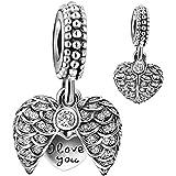 925 Sterling Silver Guardian Angel Wings Open Heart Dangle Charm Bead for European Snake Bracelets