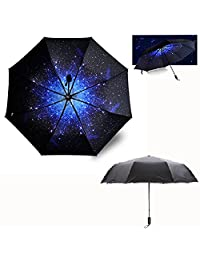 Itian New Release Starry Double Layer Sky Folding Sun Umbrella UV Protection Umbrella Rain Umbrella for Travel Outdoor with Art Painting Print, Wind & Water-proof