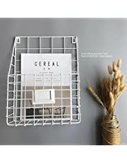 kuso Hanging File Holder - Wall Mounted Metal Mesh Basket Wire Magazine Rack - Shelf Office Folder Organizer with Name Tag Slot for Home & Office (White)