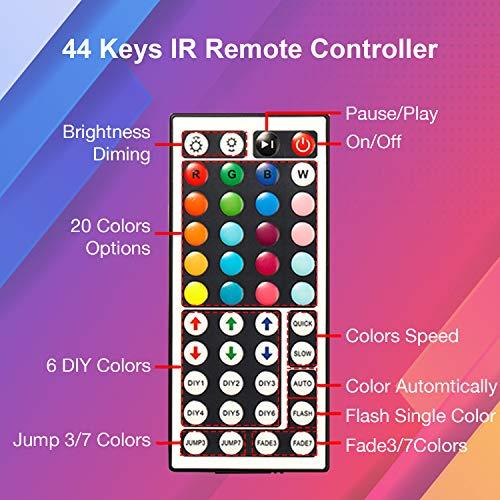 DAYBETTER Led Strip Lights 16.4ft Flexible Color Changing Led Lights 5050 RGB 150 LEDs Light Strips Kit 5m with 44 Keys IR Remote and 12V Power Supply for Bedroom, Kitchen, Home