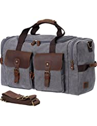 Wowbox Weekender Bag for Men,Leather Canvas Large Men's Overnight bags,Carry on Duffel Bag for Travel