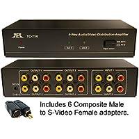 2 in x 4 out Composite RCA S-Video, Audio Distribution Amplifier Amp Splitter Matrix Distributor